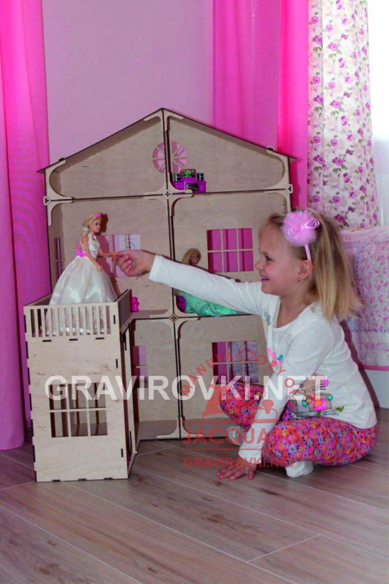 лазерная резка домика для кукол из фанеры